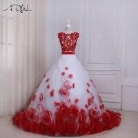 Adln Двойка Свадебные платья с цветами Совок линии Белое и красное свадебное платье Индивидуальные халат де mariée 2017