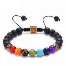 Lateefah lava oil bracelet seven chakras yoga beads life tree braid for 8mm