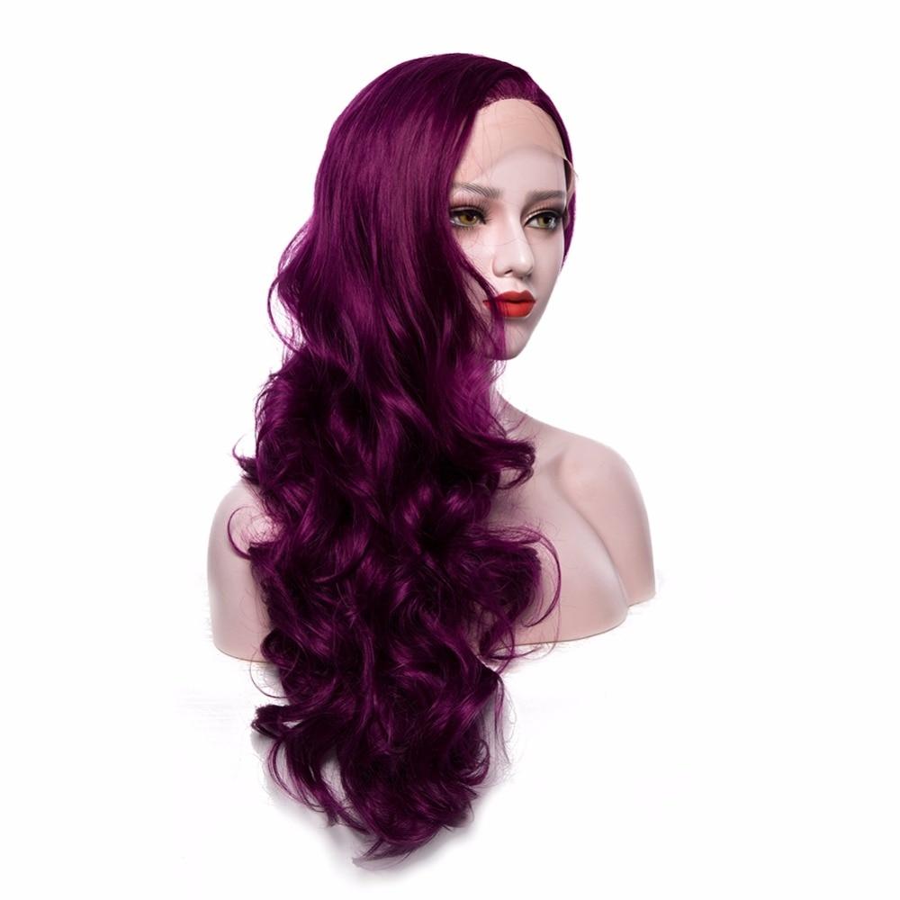 Μωβ Συνθετική Lace μπροστινή περούκες - Συνθετικά μαλλιά - Φωτογραφία 4