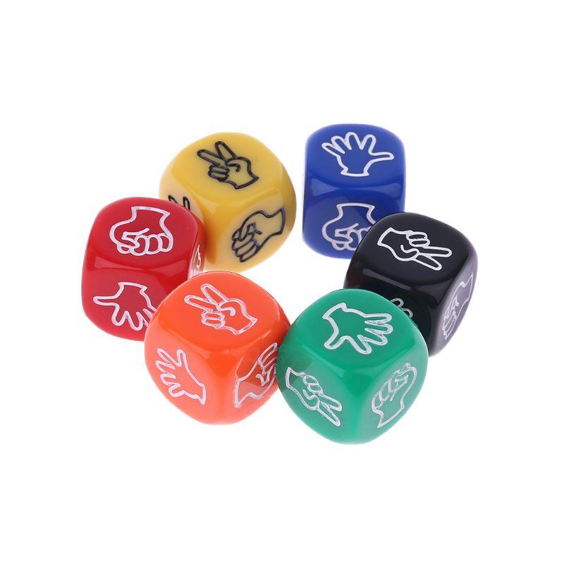 6 шт./компл. забавные игровые кости для напитков, ножницы для рок-бумаги, игрушки для азартных игр с пальцами, 6 сторон, 20 мм