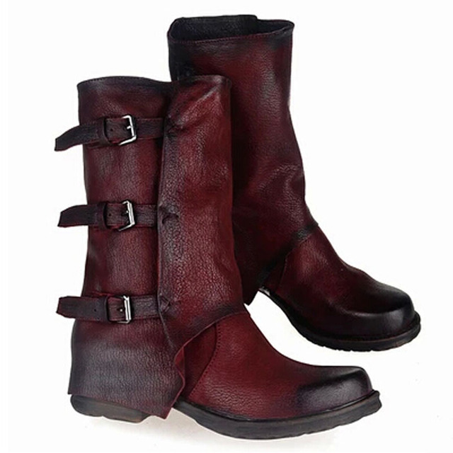 dcc7d13c1a1 Unique Luxury Design Genuine Leather Women Winter Boots Black Wine Red  Vintage Flat Knee High Tactical Boots Sapatos Femininos