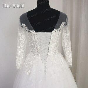 Image 4 - 3 分袖レースアップリケウェディングドレスイリュージョンネック高品質カスタムサイズ花嫁衣装
