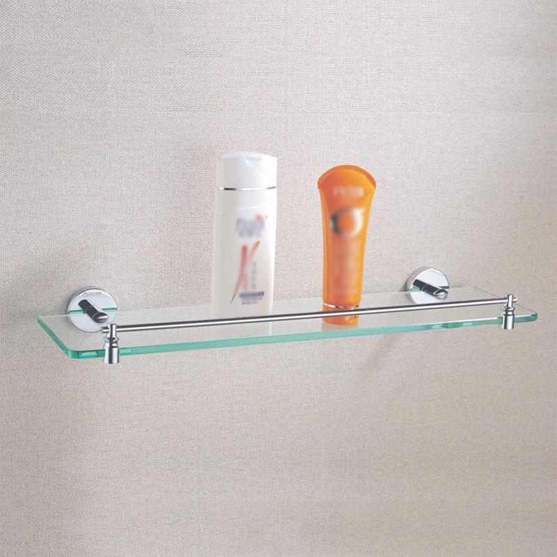 chrome singola mensola di vetro moderno ottone fissato al muro bagno doccia detergente shampoo accessori per