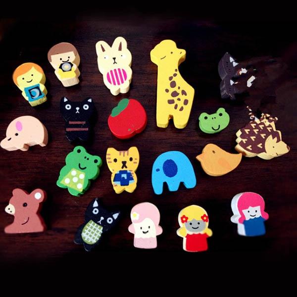 19 Pcs/Set Fridge Magnet Wooden Colourful Cartoon Animals Refrigerator Magnets Childrens Kids Gifts Hogard
