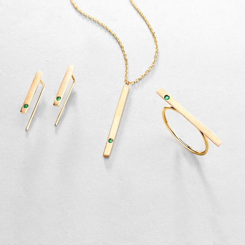 JXXGS bijoux mode 14 K or naturel émeraude boucles d'oreilles Bar boucles d'oreilles pour les femmes - 4