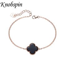 Korean New Simple S925 Sterling Silver Clover Bracelet for Women Girls Rose Gold Color Chain Bracelet Fashion Jewelry Gifts