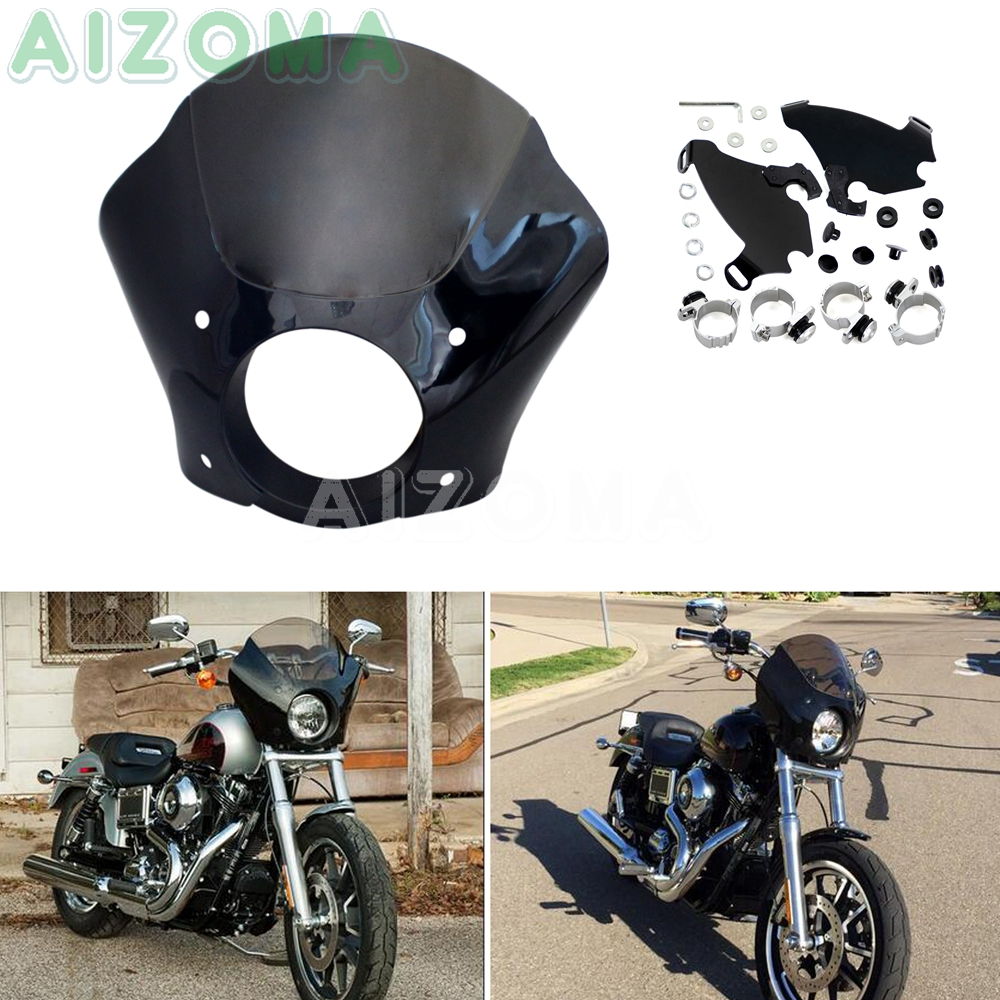 Motorcycle Headlight Fairing Windshield w/ Bracket Kit for <font><b>Harley</b></font> <font><b>Iron</b></font> <font><b>883</b></font> Sportster 1200 Roadster Seventy-Two Nightster 1986-18 image