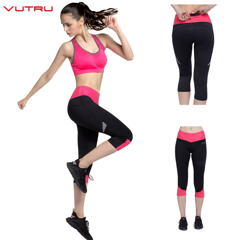 Vutru Womens Capri Pants Sport Yoga Calf-length Pants Running Tights Sports Fitness Slim high waist Leggings Women Trousers цена