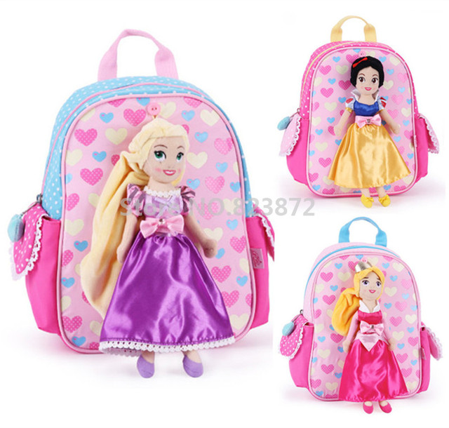 Cute Rapunzel Snow White Aurora Princess Plush Doll Kindergarten Preschool Backpacks  Schoolbag School Bags for Girls 7939e7016777d
