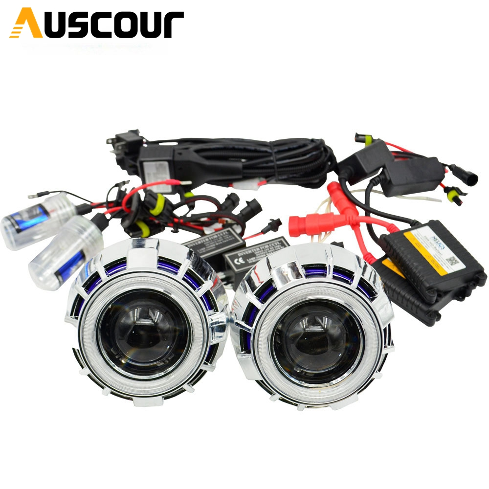 2 5inch bixenon Projector lens with dual DRL day running white red angel eyes shrouds hid