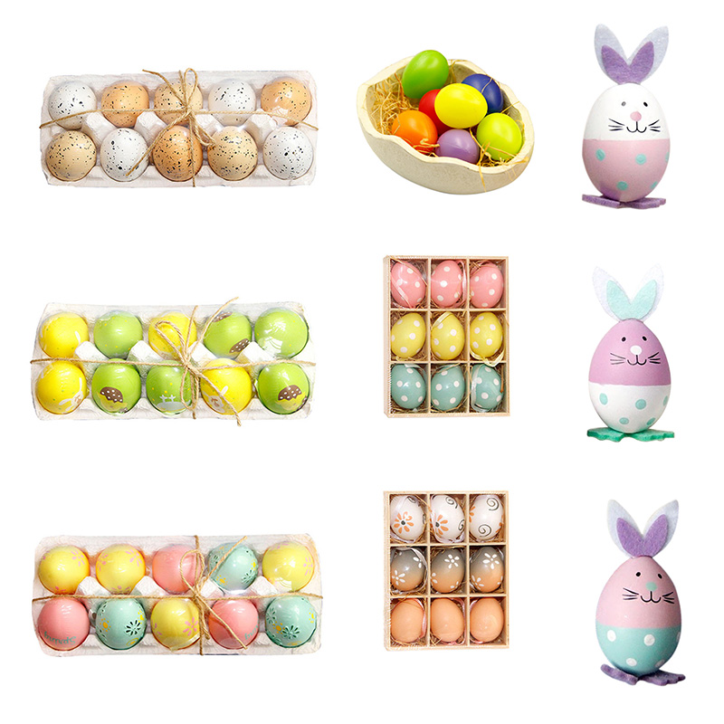 3/9/10/36/50pcs/ Box DIY Easter Egg Ornaments Children's Toys Plastic Colored Egg Easter Events Birthday Party Gift Decoration