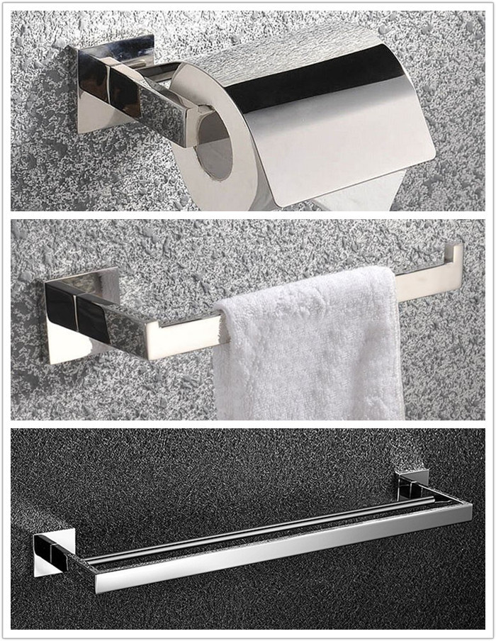 Free shipping Round 304# Stainless Steel Bathroom Accessories Set,Robe hook,Paper Holder,Towel Bar,bathroom sets SM22B leyden towel bar towel ring robe hook toilet paper holder wall mounted bath hardware sets stainless steel bathroom accessories