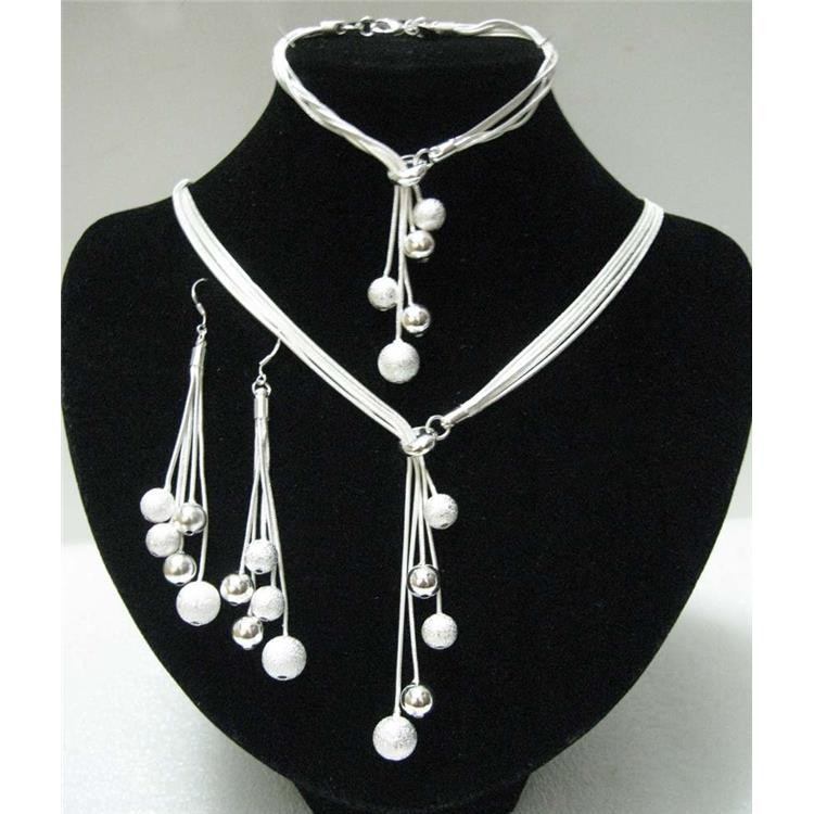Big Sale perempuan Perhiasan Dipoles Selesai Gelang Y-bentuk Kalung Drop Earrings Perak Disepuh Beads Jewelry Set Afrika