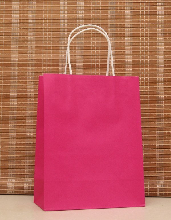 10PCS/LOT Stationery Holders Rose Pink Paper Bag With Handles 21x15x8cm Festival Gift Bag Shopping  Kraft Paper Bags