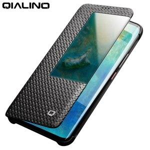 Image 1 - Qialino fashion couro genuíno flip case para huawei mate 20 pro elegante capa de negócios ultra fina com vista inteligente para mate 20