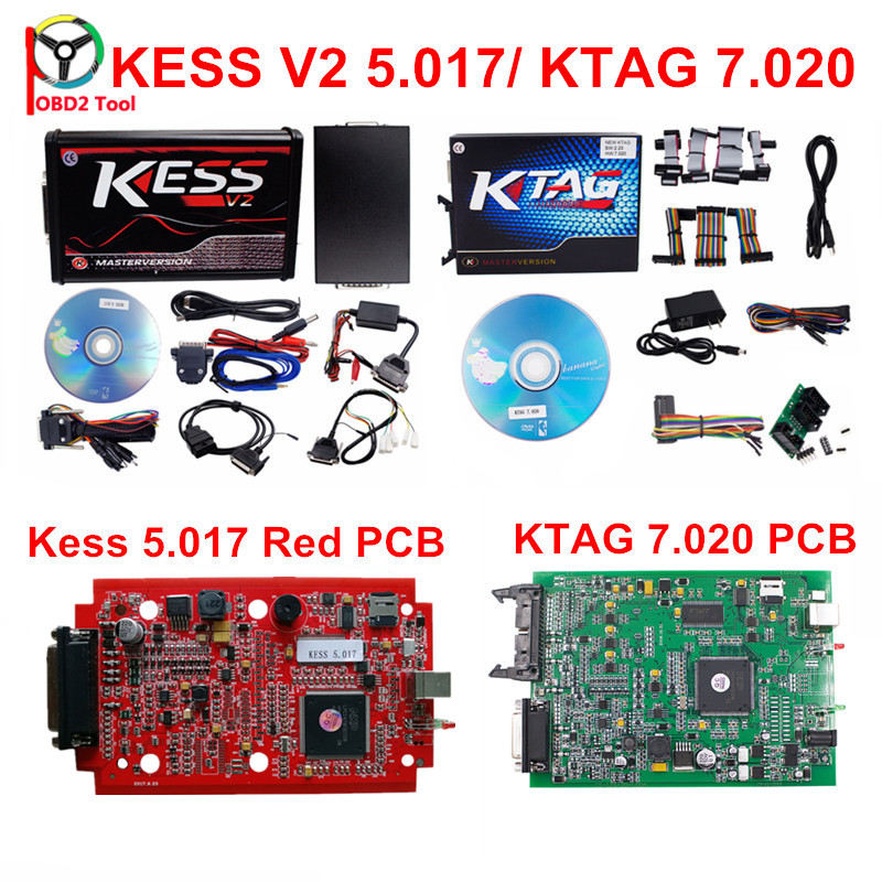 Professional ECU Chip Tuning Tool KESS V5.017/ Ktag 7.020 OBD2 Car-Detector Programmer Manager No Token Support Truck & Car 2017 newest ktag v2 13 firmware v6 070 ecu multi languages programming tool ktag master version no tokens limited free shipping