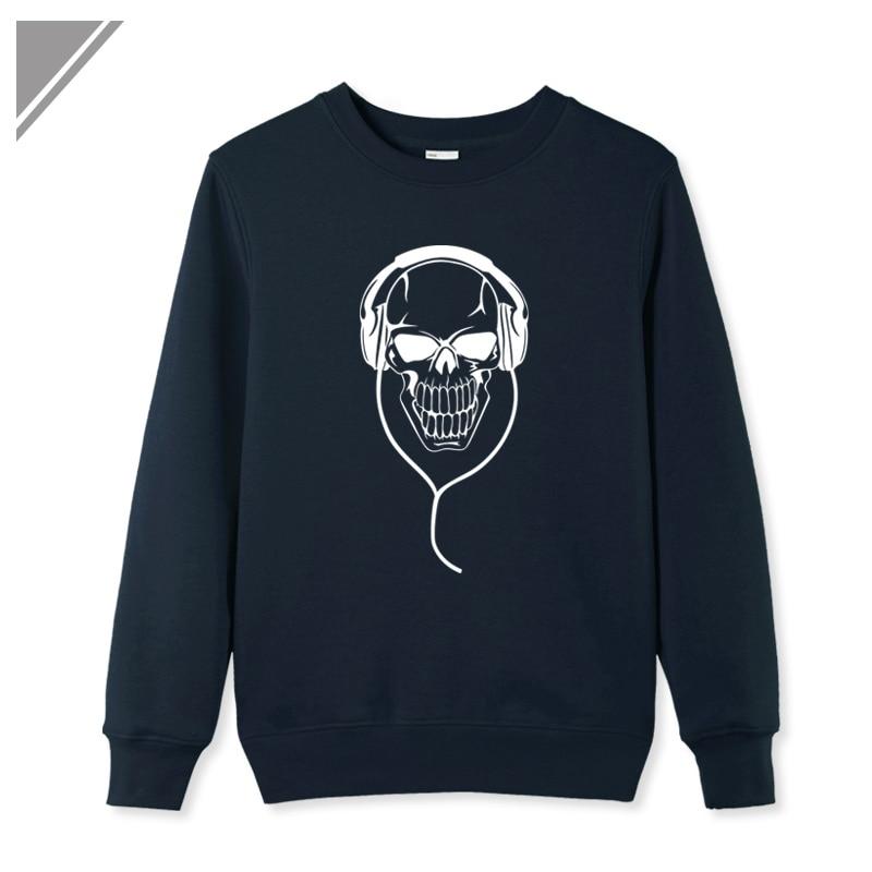 2018 Mens Funny Autumn And Winter Cotton Blend Music Anime Wearing Headphones Print Hoodies Men Pullover Hooded Sweatshirt