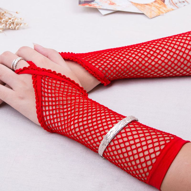Women Sexy Sheer Punk Long Fingerless Gloves Solid Color Fishnet Disco Dancing Party Mesh Mittens Lace Trim With Finger Loop 6 C