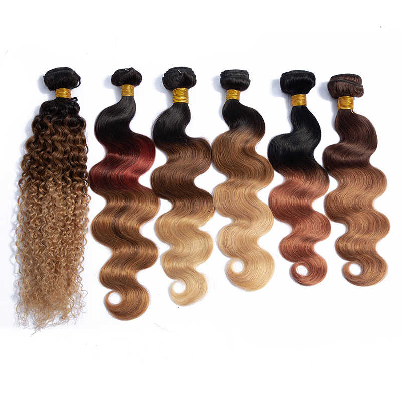 Kapelli Brazilian Ombre Human Hair Wave Bundles 3/4Pcs 8~26 Inch Ombre Non Remy Hair Extensions Pre Colored Hair Weaving