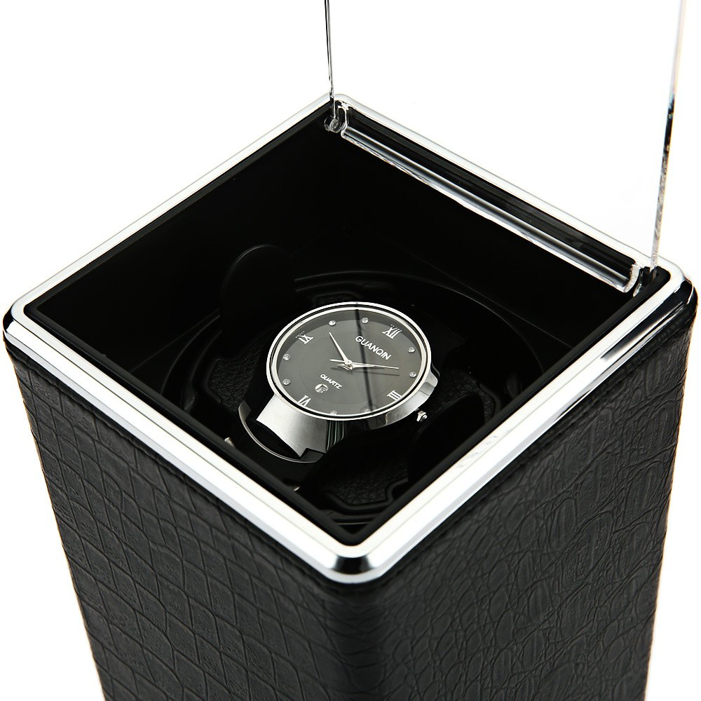 купить New Arrival 4 Colors Black Automatic Single Watch Winder Jewelry Watch Display Box Case Rectangle Mute Box For Watches Gift по цене 2585.94 рублей