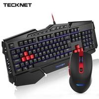 TeckNet игровая клавиатура мышь комбо эргономичная радусветодио дный жная светодиодная подсветка USB Проводная Комплект геймера UK макет водост...