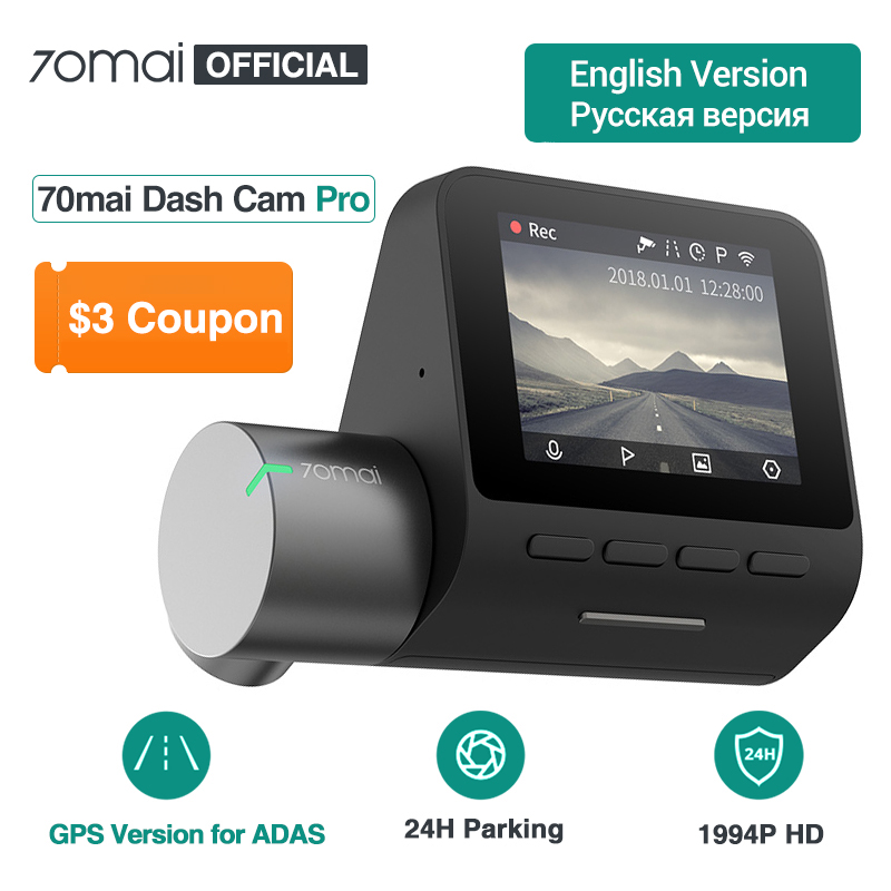 Xiaomi 70Mai Dash Cam Pro English Voice Control 2*1080P 1944P Car GPS Night Vision