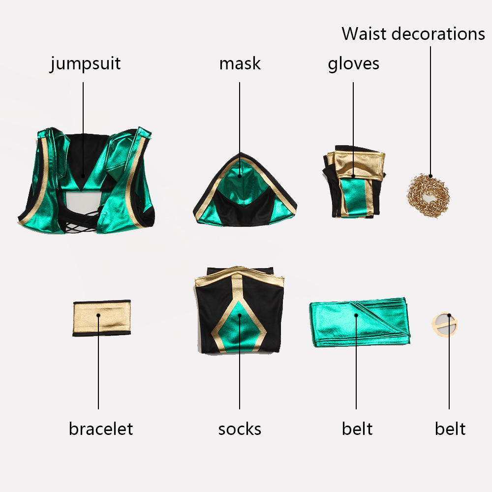 Image 4 - Mortal Kombat X Cosplay Jade Kitana Costume Clothing Game Superhero Mask Suit Adult Women Halloween Christmas Custom Made Party-in Game Costumes from Novelty & Special Use