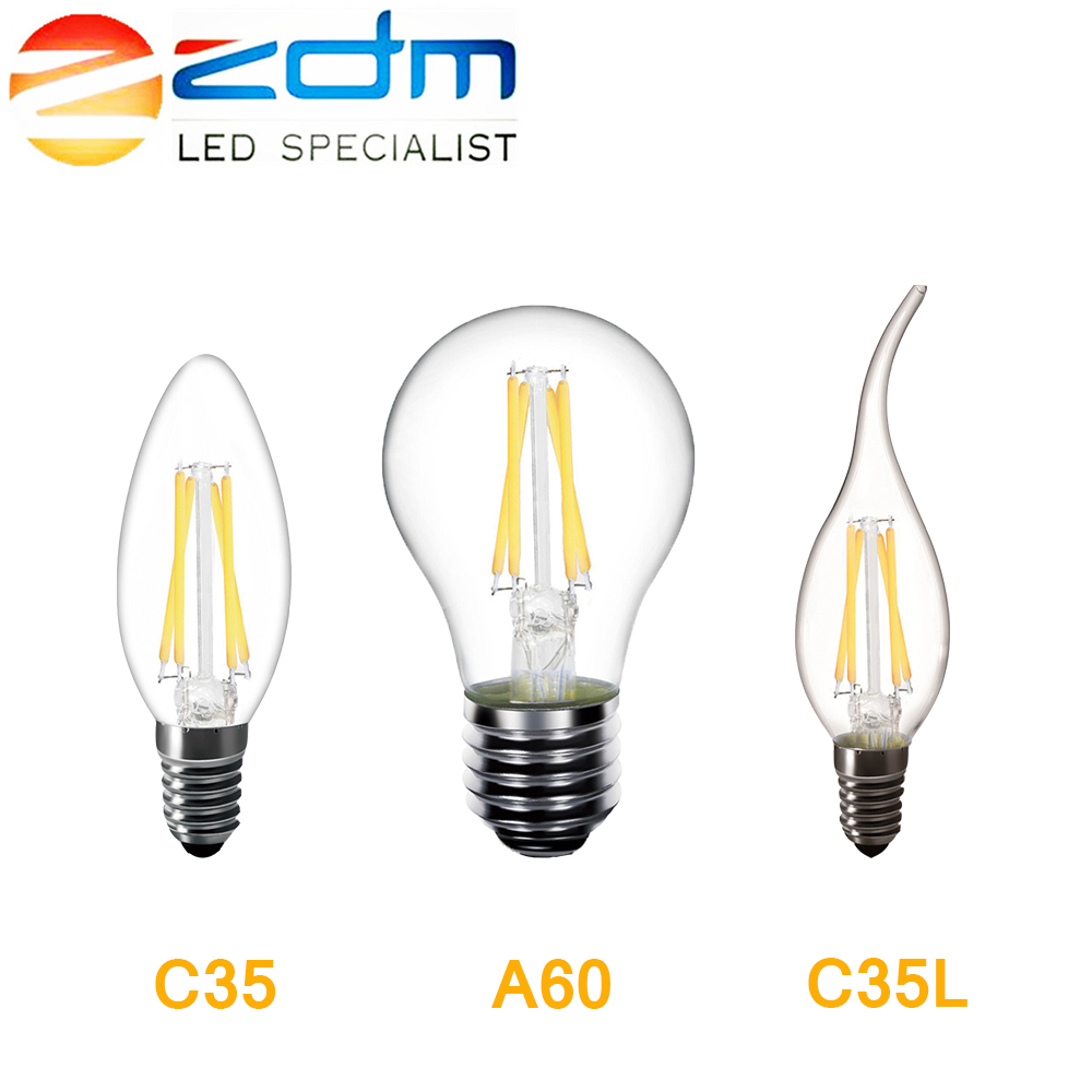 ZDM Vintage Glass LED Bulb 2W 4W 6W 8W E14 C35 A60 LED Filament lamp Edison Light 220V Antique Retro Candle Bulb dimmable led filament candle light bulb e14 220v 240v 2w 4w 6w c35 c35l vintage edison bulb for chandelier cold warm white