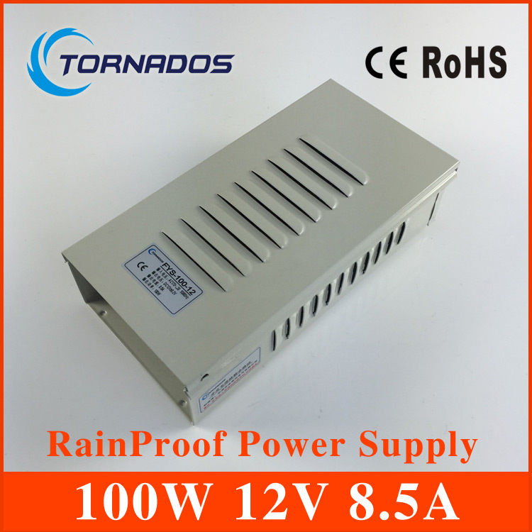 12V 8.5A 100W rainproof Switching led Power Supply,170~264V AC input 12V DC output for led strips free shipping meanwell 12v 350w ul certificated nes series switching power supply 85 264v ac to 12v dc