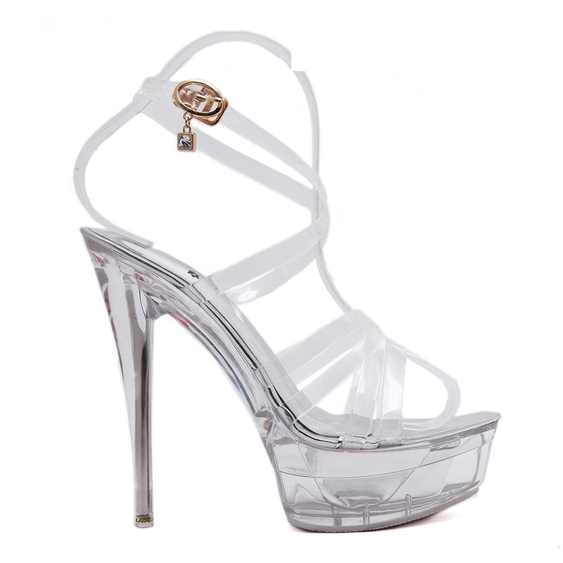 Cocoafoal Women Transparent Heels Shoes White Wedding Sexy Pole Dance Sandals Summer Peep Toe 14 Cm Extreme High Heels Shoes(China)