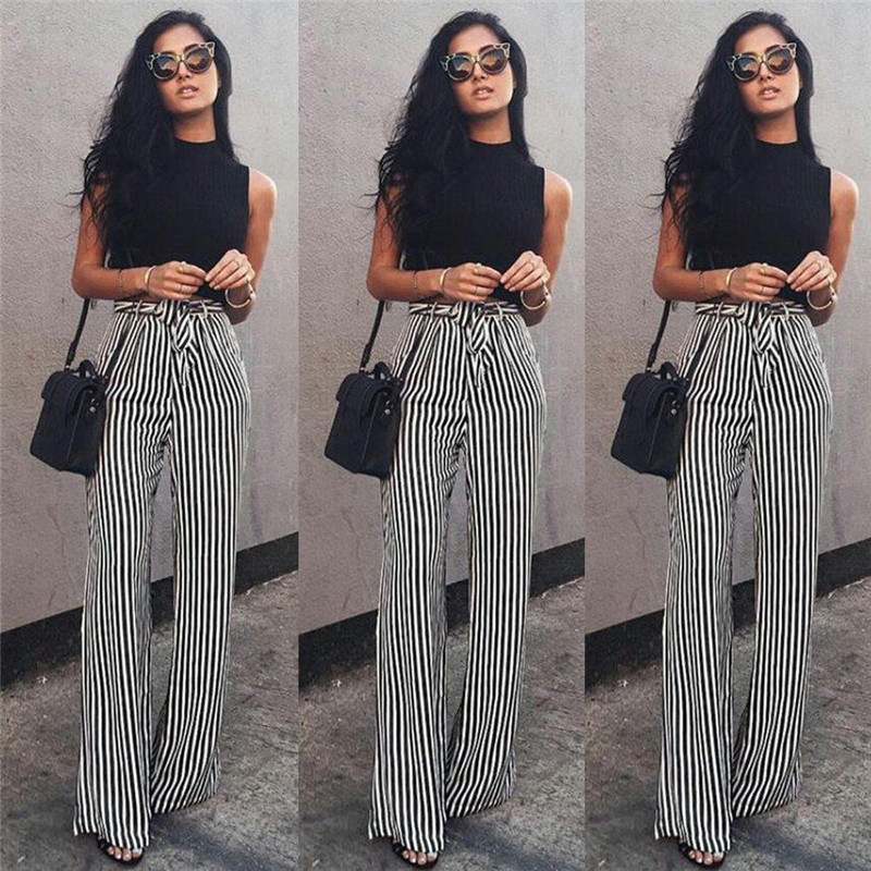 trendy women clothes loose stretch high waist pants bandage casual striped polyester trousers one