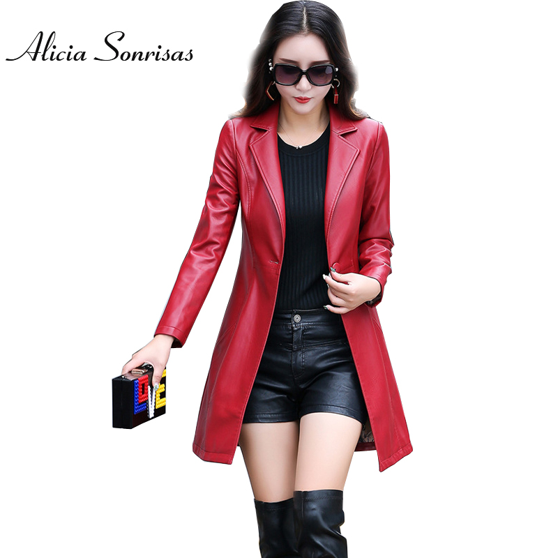 2017 OL Leather Jacket Women Long Suit Collar Black Plus Size 4XL 5XL Grey Red Jacket Long Sleeve AS9720