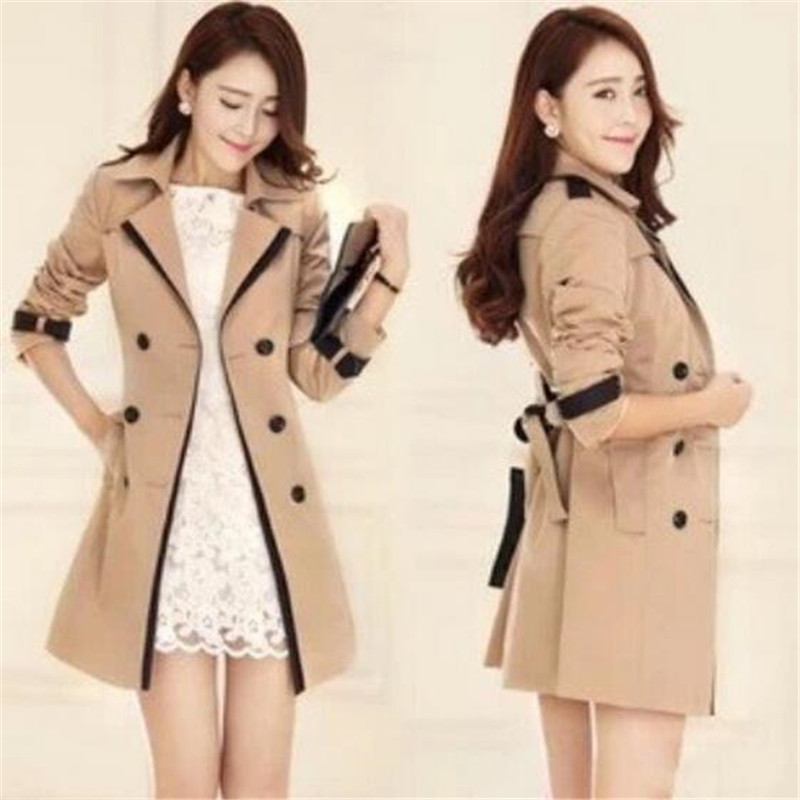 2016 Autumn Winters Latest Fashion Women Dust Coat Medium Long Coat Leisure Lapel Long Sleeve Double-breasted Female Coat G0957