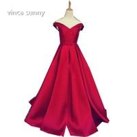2016 Elegant Simple Red Prom Dresses V Neck A Line Cap Sleeve Satin Vestidos De Formatura