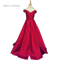 2016 Elegant Simple Red Prom Dresses V Neck A Line Cap Sleeve Satin Vestidos De Formatura