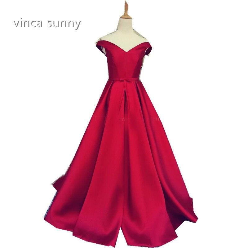 Simple Elegant Long Sleeve V Neck A Line Lace Top Satin: Vinca Sunny 2017 Elegant Simple Red Prom Dresses V Neck A
