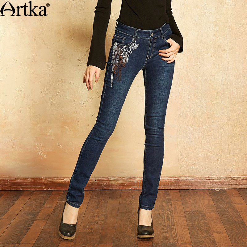 ARTKA Women's   Jeans   2018 Summer   Jeans   For Girls Elastic Skinny   Jeans   Women Denim Pencil Pants Embroidery   Jeans   KN11171Q