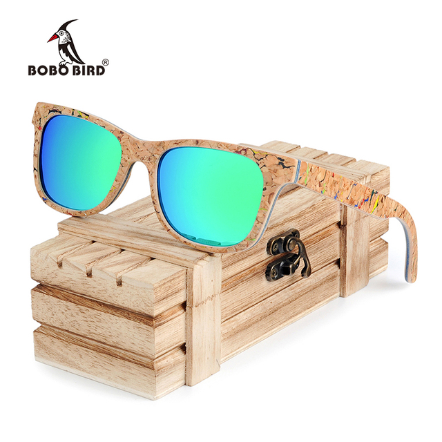 BOBO BIRD Sunglasses Women Colorful Frame Polarized Fashionable Vintage Wooden Glasses For Gift oculos de sol feminino AG021