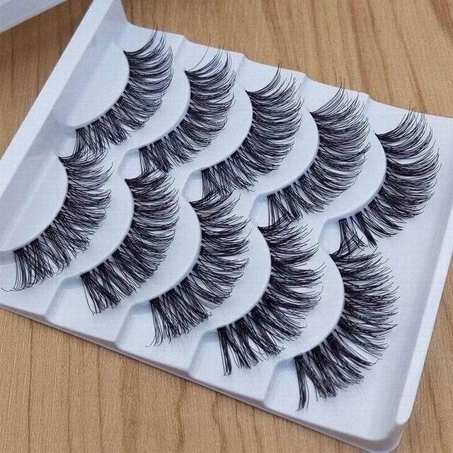 5 paires de faux cils 3D vison maquillage vaporeux fait à la main épais naturel croix longs faux cils maquillage des yeux Extension de beauté