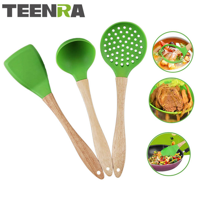 Ra 3pcs Wood Handle Silicone Kitchen Utensil Set Cooking Tools Fried Shovel Spoon Colander