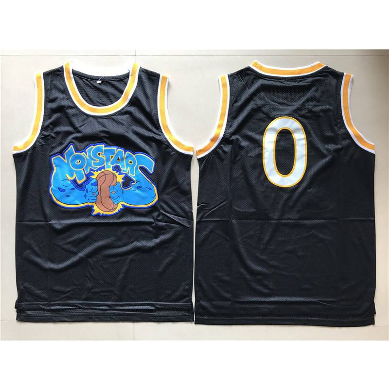 Mens Monstars #0 Alien Space Jam Movie Monsters Team Black Stitched Basketball Jerseys