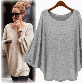 2018 New sweater Women candy color Oversized Batwing Knitted Pullover Loose Sweater Knitted Tops high quality clothing 6