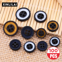 100pcs Four Holes Resin Buttons Round Wooden Ring Deep Color High-end Clothing Excipient DIY Sewing Accessories