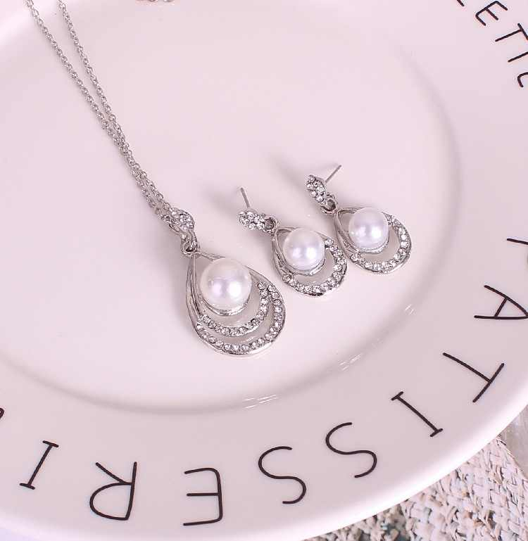 M MISM New Designed Beautiful Rhinestone Jewelry Sets Korean Crystal Pearls Silver Necklace Earrings for Women Party Jewelry