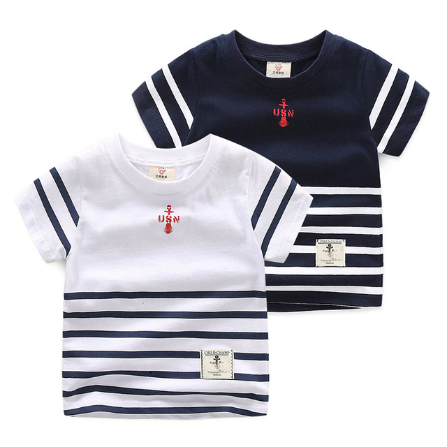 2-10Y boys tops tiny cotton boys summer t shirt short sleeve striped kids tshirt for boys children clothes K18