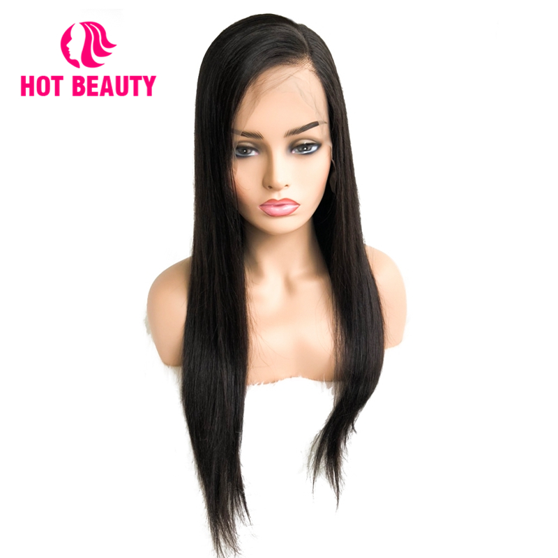 Hot Beauty Hair 360 Lace Frontal Wig Straight Brazilian Remy Hair Wigs Pre Plucked With Baby