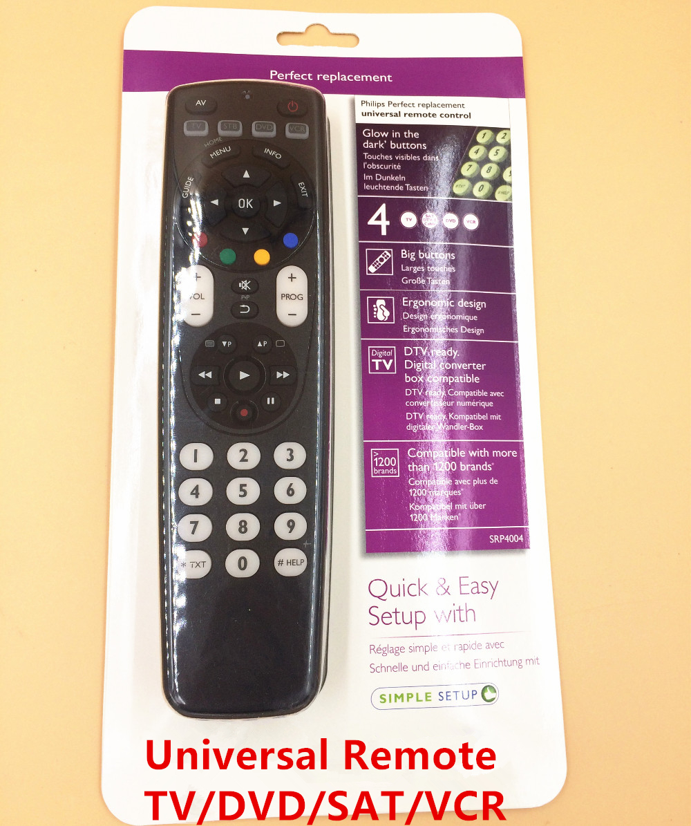 US $15 0  Perfect Universal TV / DVD / VCR / DVB remote control SRP4004  compatible with more than 1200 brands-in Remote Controls from Consumer