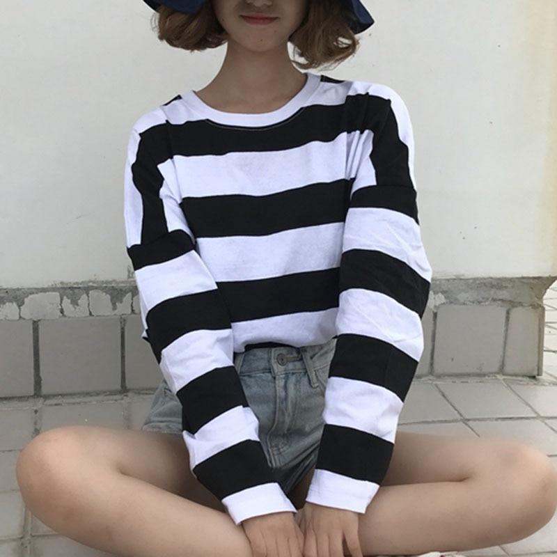 HTB1luCuPxjaK1RjSZKzq6xVwXXaC - Women T-Shirts Women's Casual  Striped Print  O Neck Long Sleeve