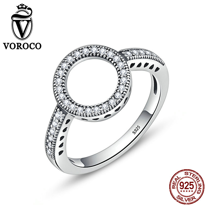 VOROCO Hot Sell Genuine 925 Sterling Silver Ring CZ Circle Round Finger Rings For Women Fine Jewelry Party Gift anillos BKR041