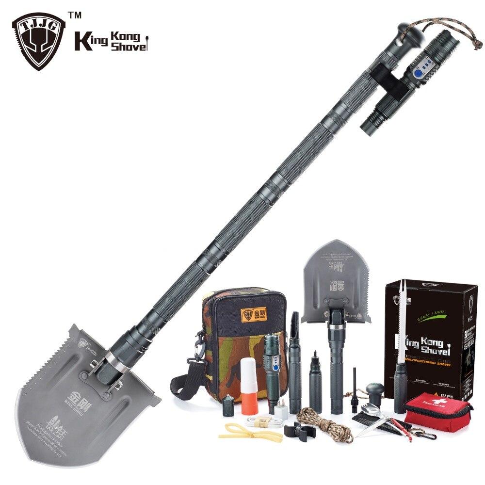 Multi function Survival Shovel military with Flashlight Folding Spade Garden font b Camping b font Shovel